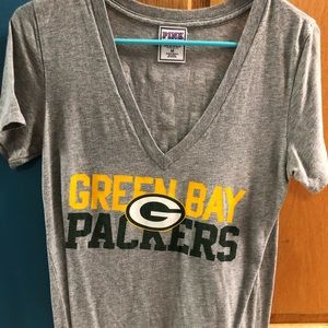 PINK Green Bay Packers v neck